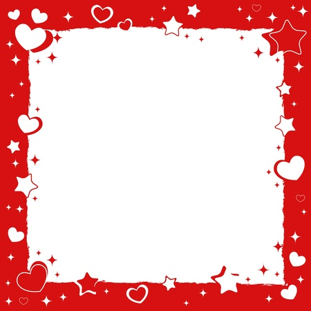 Valentine love romantic frame with hearts and stars