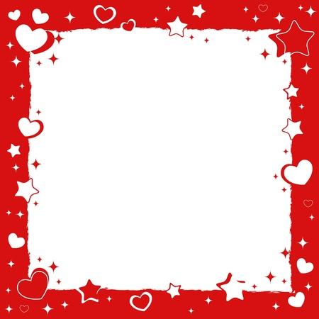 cute border: Valentine Love cornice romantica con cuori e stelle