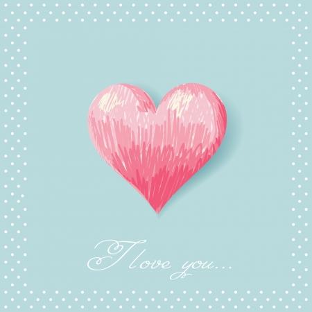 Romantic Valentine sketch heart invitation postcard with polka dot frame Vector