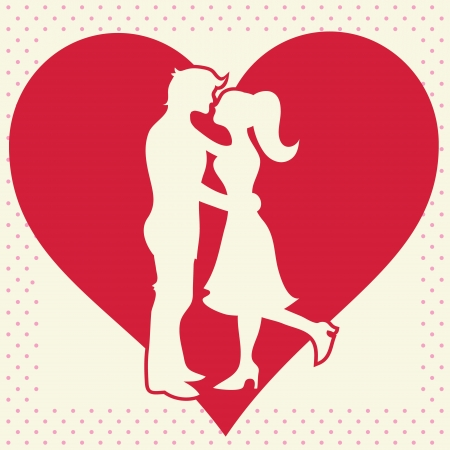lover boy: Romantic Valentine lovers silhouette on heart background postcard Illustration