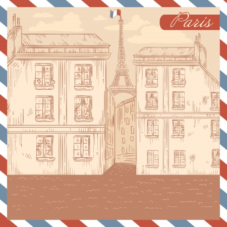 retro postcard: Retro-styled France postcard with a view of Paris street and Eiffel tower on air mail frame background Illustration