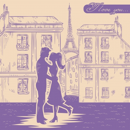 Romantic Valentine retro postcard with happy couple in love on Paris street background Vector