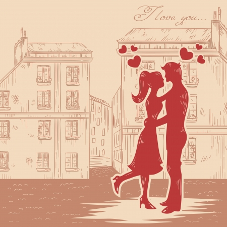 romantic kiss: Romantic Valentine retro postcard with happy couple in love with hearts on old fashioned street background Illustration