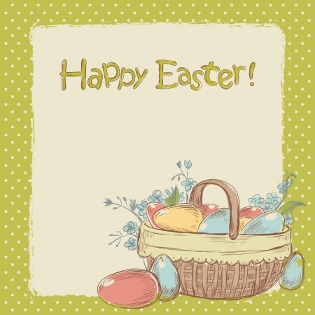 Retro styled hand drawn vintage Easter card with basket full of colorful painted eggs Stock Vector - 17550724