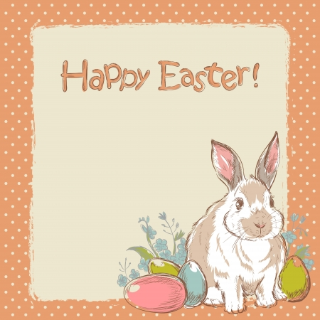 orthodox easter: Easter bunny retro card with cute hand drawn flowers and  painted eggs Illustration