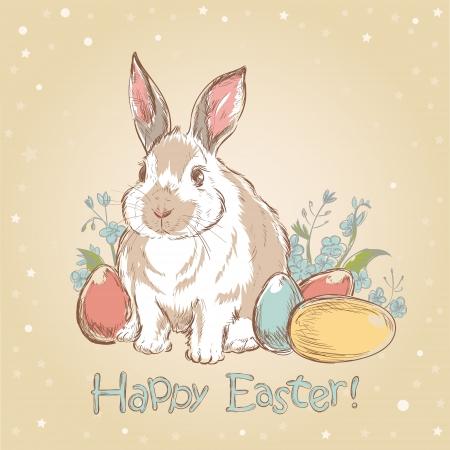 conejo caricatura: Conejo de Pascua retro tarjeta con flores dibujadas a mano lindas y huevos pintados