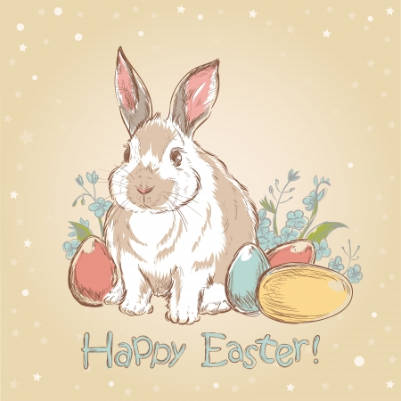 Easter bunny retro card with cute hand drawn flowers and  painted eggs Illustration