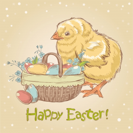 Easter vintage hand drawn card with cute little chicken and a basket full of colored eggs and flowers Vector