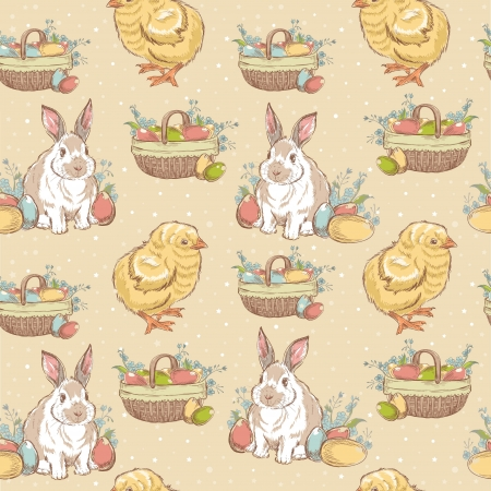 Easter vintage hand-drawn seamless pattern with chicken, rabbit and basket full of painted eggs Vector
