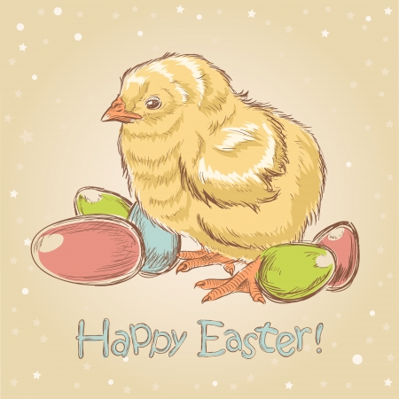Easter vintage hand drawn card with cute little chicken and colored eggs Vector