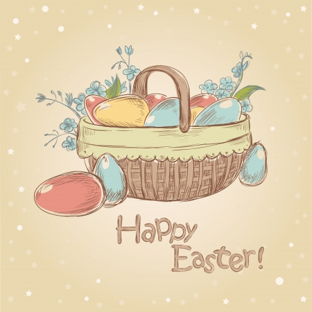 Retro styled hand drawn vintage Easter card with basket full of colorful painted eggs Vector