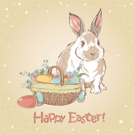 Easter retro card with cute hand drawn bunny and basket full of painted eggs Ilustrace