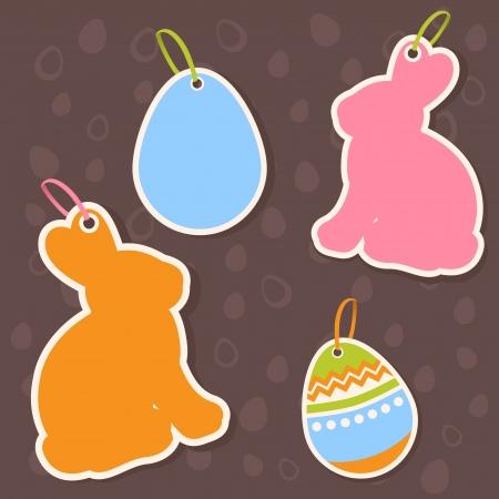 silhouette lapin: Lapin de Pâques et les oeufs autocollants vente au rabais sur le chocolat modèle sans couture