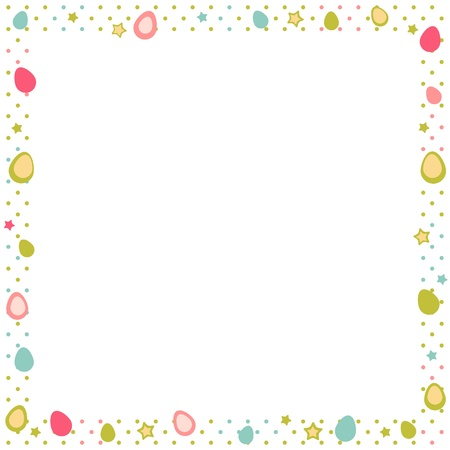 Easter eggs colorful frame with stars and polka dot Stock Vector - 17550692