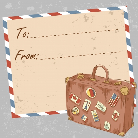 Air mail travel postcard with old grunge envelope and suitcase covered with stickers from different countries Ilustrace