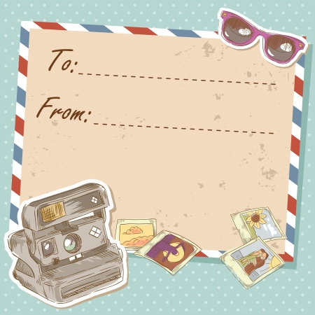 Air mail travel postcard with old grunge envelope and photo camera and sunglasses