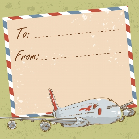 Air mail travel postcard with old grunge envelope and touristic airplane
