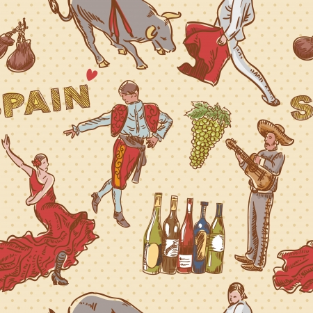 spanish tile: Spain seamless repeating pattern with traditional spanish symbols on dot background Illustration
