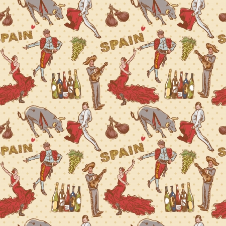 Spain seamless repeating pattern with traditional spanish symbols on dot background Ilustrace
