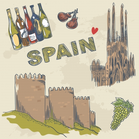 Collection of Spanish sightseeings and objects hand drawn sketch style
