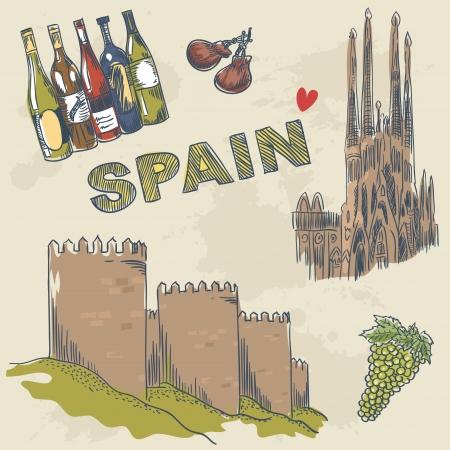 Het verzamelen van de Spaanse bezienswaardigheden en objecten hand getrokken schets stijl Vector Illustratie