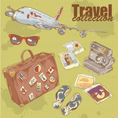 Travel objects collection with plane, suitcase, photo, camera, flip-flop Vector