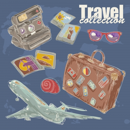Travel objects collection with plane, suitcase, photo, camera, flip-flop Stock Vector - 17710824