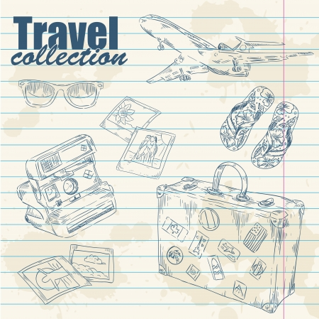 Travel objects lineart on notebook paper splatter background Vector
