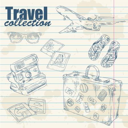 polaroid: Voyage lineart objets sur fond �claboussures cahier de papier