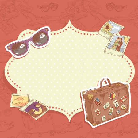 luggage: Travel postcard with suitcase with stickers, sunglasses and photos