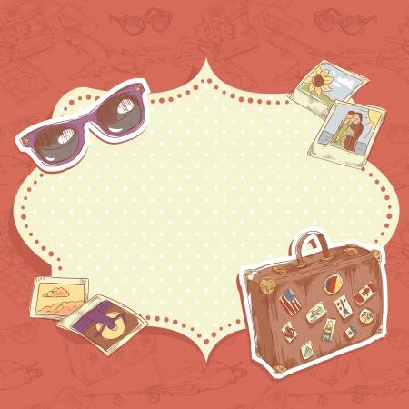 polaroid: Voyage de carte postale avec une valise avec des autocollants, des lunettes de soleil et des photos