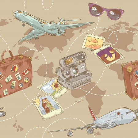 travelling: Travel seamless repeating pattern with plane, bag, camera and world map Illustration