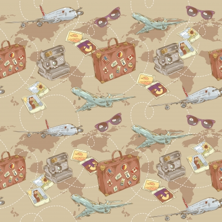 Travel seamless repeating pattern with plane, bag, camera and world map Stock Vector - 17710817