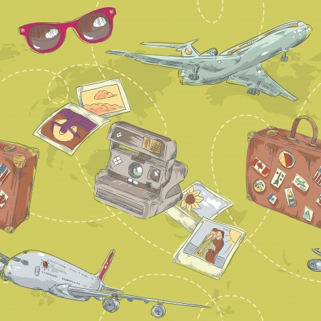 Travel seamless repeating pattern with plane, bag, camera and world map Ilustrace