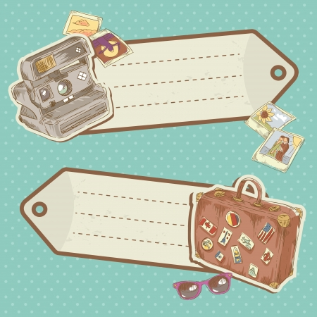 Retro-style Travel discount stickers with bag and photo camera on polka dot background Vector