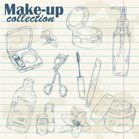 skincare facial: Set of make-up object cute girl collection hand drawn lineart on notebook paper background