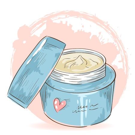 Cuidado de la Piel Maquillaje tarjeta tarro de crema en el fondo del grunge salpicaduras Ilustración de vector