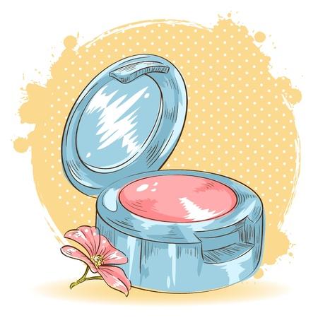 Skincare make-up blusher isolated card on polka dot grunge splash background