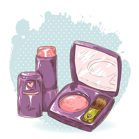 Skincare make-up blusher, eye-shadow and lipstick isolated card on polka dot grunge splash background