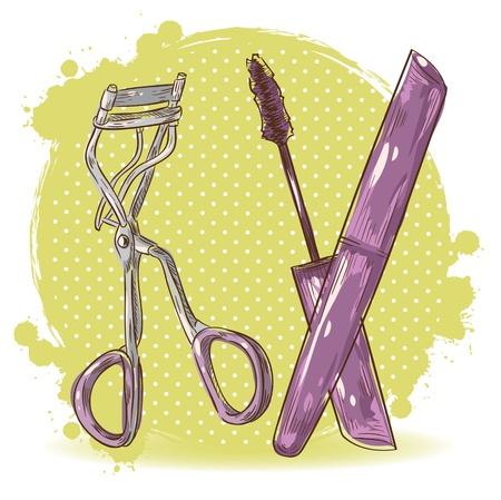 curler: Beauty make-up eyelash curler and mascara isolated card on polka dot grunge splash background