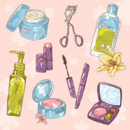 rímel: Conjunto de maquiagem cole��o linda garota objeto no fundo das bolinhas