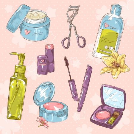Set of make-up object cute girl collection on polka dot background Vector