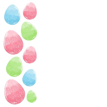 Scribble hand drawn design Easter eggs border frame Vector