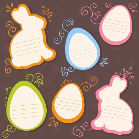 Easter bunny and eggs discount sale stickers on seamless chocolate pattern Vector
