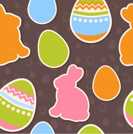 silhouette lapin: Oeufs de Pâques et les lapins coloré seamless pattern