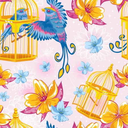 captivity: Dream colorful seamless pattern with birds and golden cages and bright flowers on dots and line art background Illustration
