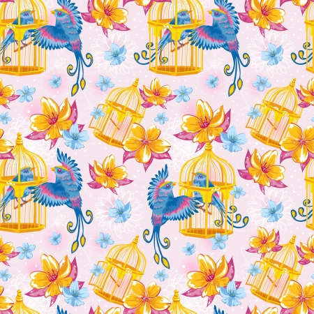 Dream colorful seamless pattern with birds and golden cages and bright flowers on dots and line art background Illustration