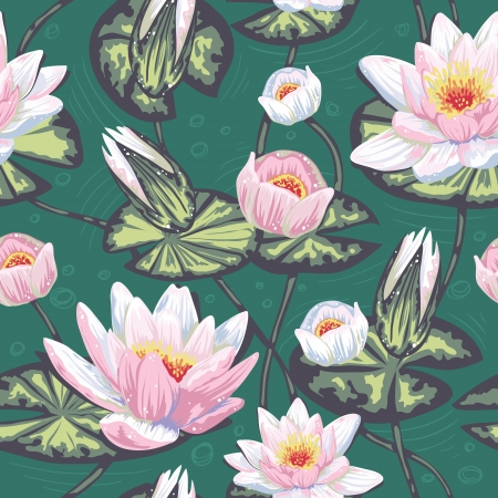 Elegant floral seamless pattern with water lily, leaves and petals in water Stock Vector - 18096545