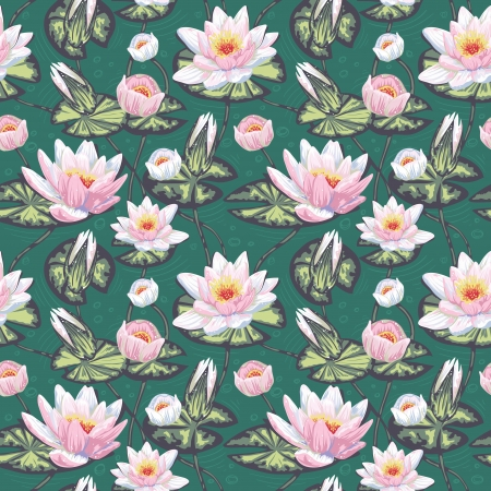 Elegant floral seamless pattern with water lily, leaves and petals in water Vector