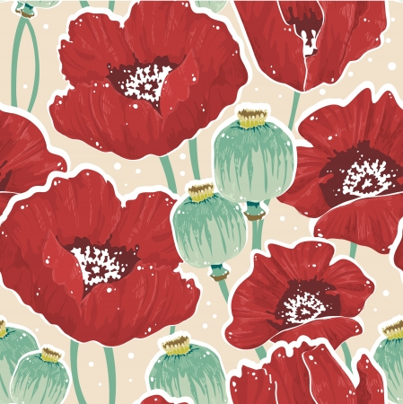 poppy seed: Beautiful painting spring floral seamless pattern with poppy, seed capsules, dots and lineart
